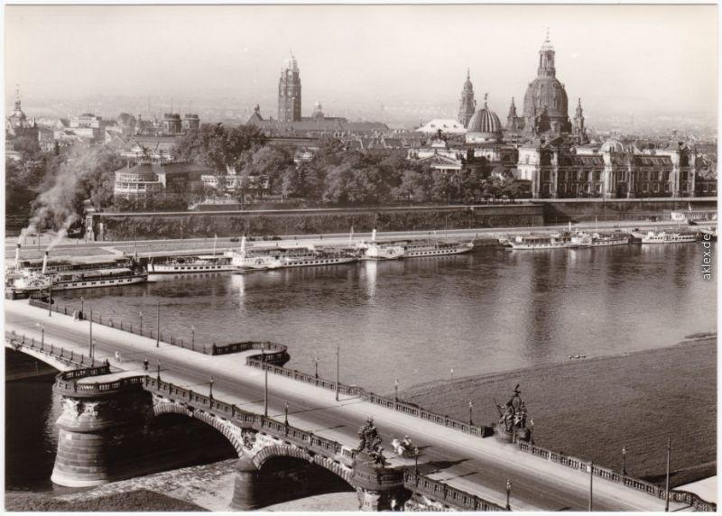 Dresden Dresden, Blick über die Carolabrücke zur Altstadt 1945/1979