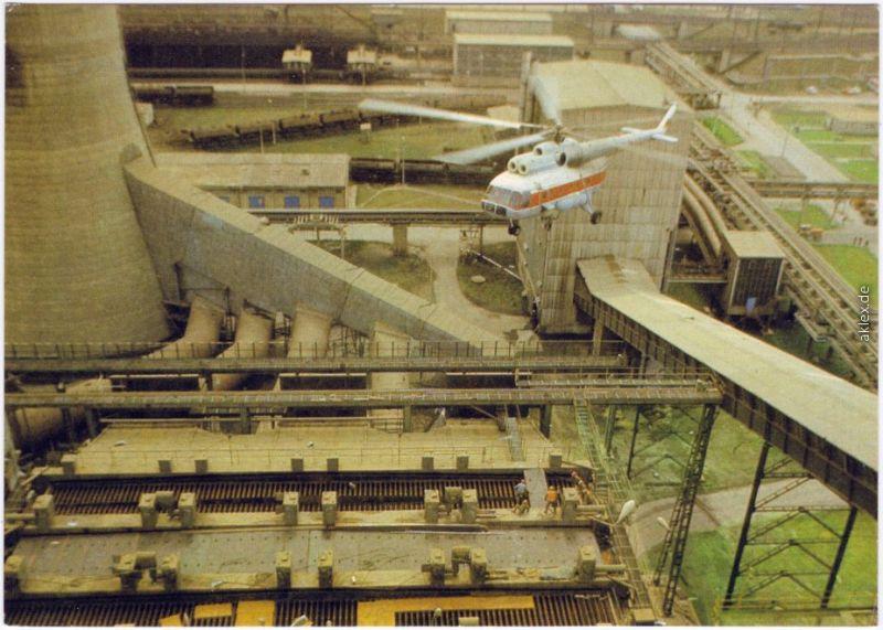 Hubschrauber Mi 8 Fliegender Kran im Einsatz Ansichtkarte  DDR Kraftwerk 1983