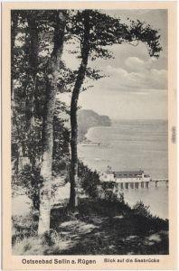 Sellin Blick auf die Seebrücke Ansichtskarte Rügen Stralsund  1916