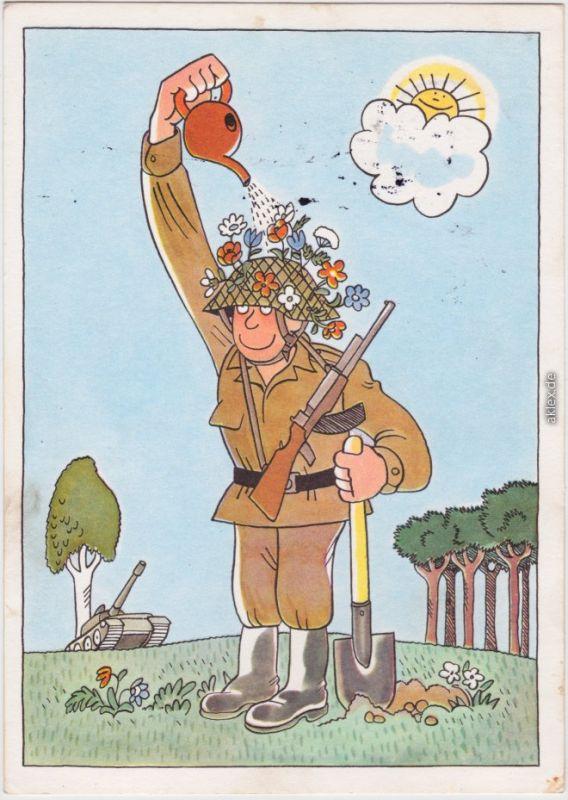 Soldat tarnt sich im Felde Ansichtskarte NVA DDR 1979