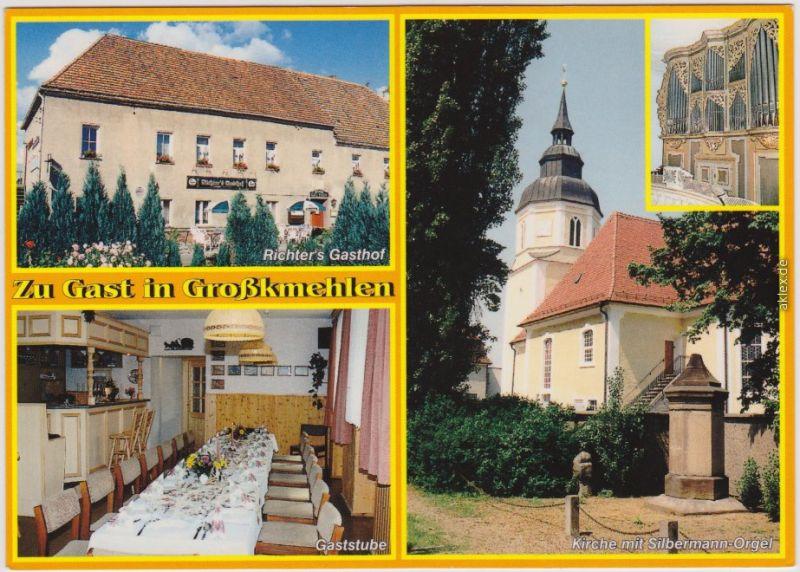Großkmehlen Ortrand Richter's Gasthof und Kirche mit Silbermann-Orgel 1996