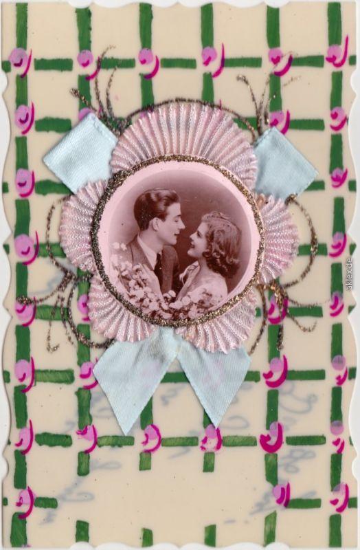 Künstlerkarten - handgefertigt, Portrait Mann/Frau 1940 Prägekarte