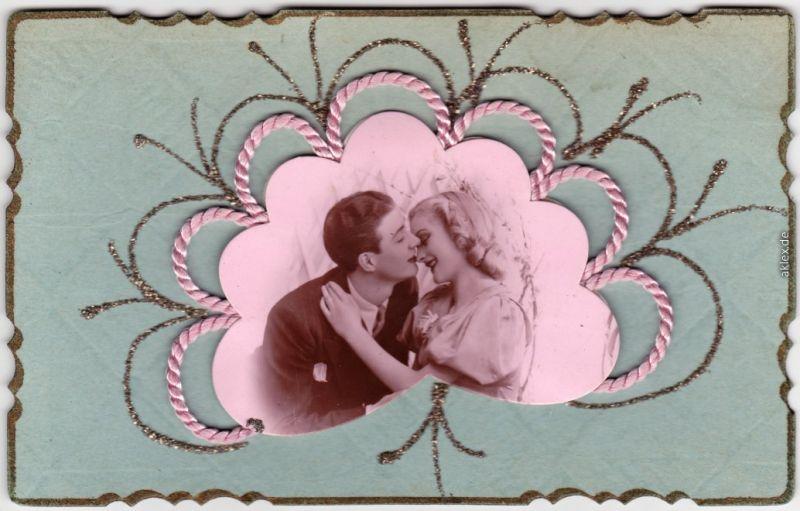 Künstlerkarten - handgefertigt, Portrait Mann/Frau 1941 Prägekarte