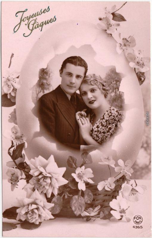 Glückwunsch: Ostern / Oster-Karten, Portrait Mann/Frau 1940