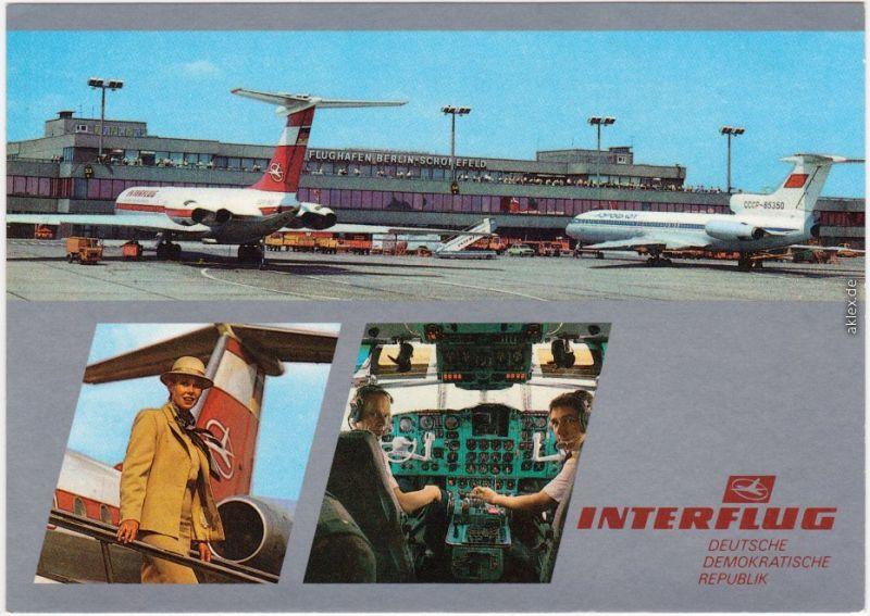 Schönefeld Berlin Interflug DDR - Flughafen, Cockpit, Stewardess 1988