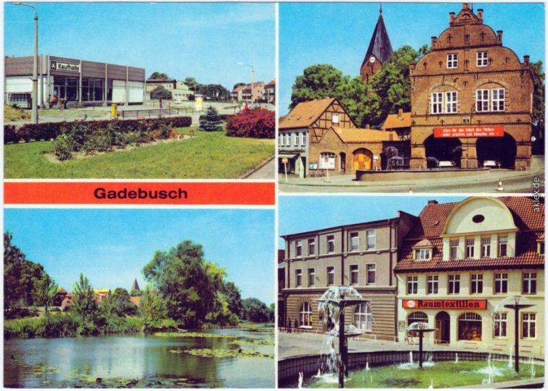 Gadebusch Konsum-Kaufhalle, Rathaus, Burgsee, Markt 1981