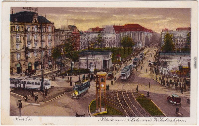 Tiergarten Berlin Potsdamer Platz  Verkehrsturm - Straßenbahn  Bus  1929