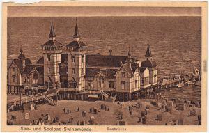 Swinemünde Świnoujście See- und Soolbad Swinemünde - Seebrücke mit Strand  1917
