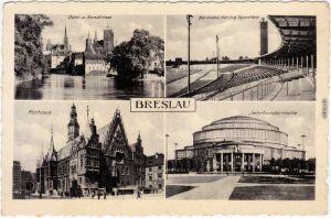 Breslau Wrocław Dom- und Sandinsel,Stadion, Rathaus, Jahrhunderthalle 1941