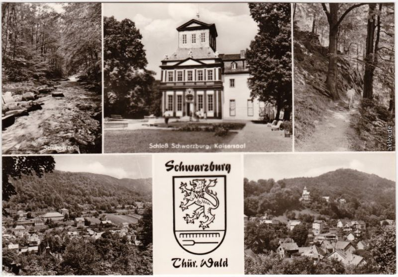 Schwarzburg  Schloß  Kaisersaal, Wanderweg, Panorama-Ansichten (2) 1975
