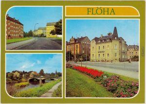 Ansichtskarte Flöha (Sachsen) Leninstraße, An der Flöha, Rathaus 1981