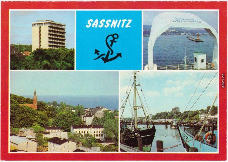 Sassnitz Saßnitz Rügenhotel, Seeblick zur Mole, Ortsansicht, Fischereihafen 1984