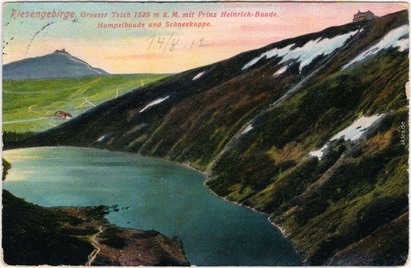 Krummhübel Karpacz Großer Teich mit Prinz Heinrich-Baude, Hampelbaude 1912