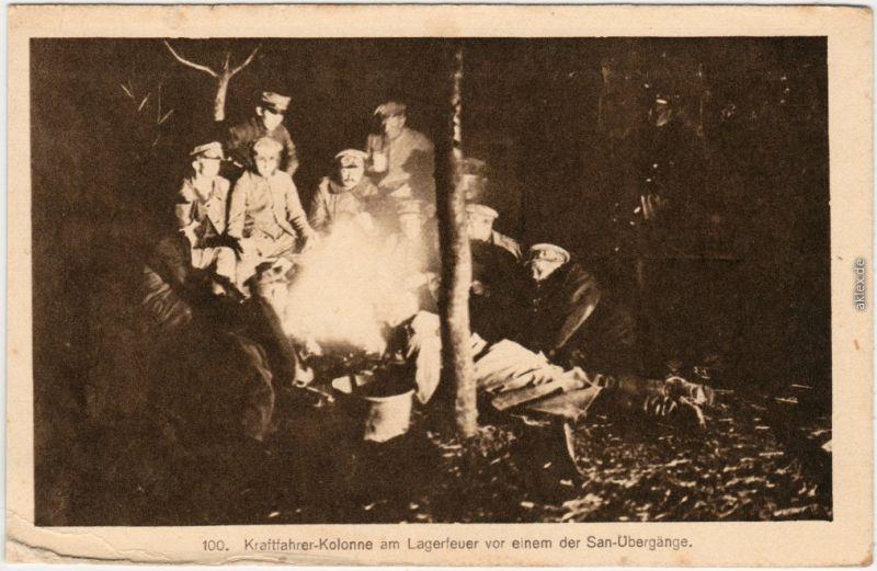 Polen  Kraftfahrer Kolonne am   der San Übergänge WK1 Polska Ukraine 1915