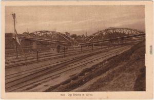 Wilna Vilnius zerstörte Eisenbahnbrücke - Schienen Wilno Lietuvos 1916