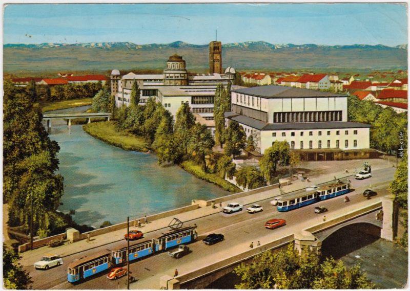 München Isarpartie und Deutsches Museum Ludwigsbrücke - Verkehr - Straba 1973