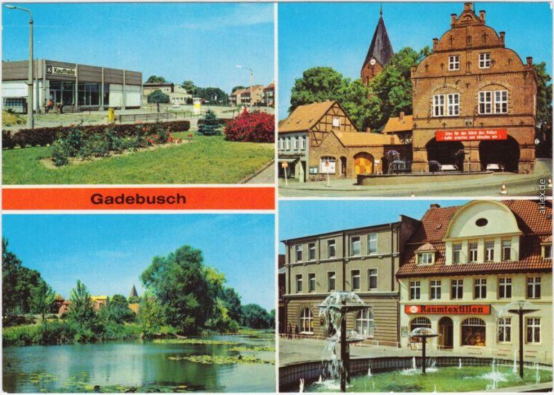 Gadebusch Konsum-Kaufhalle, Rathaus, Burgsee, Markt 1986