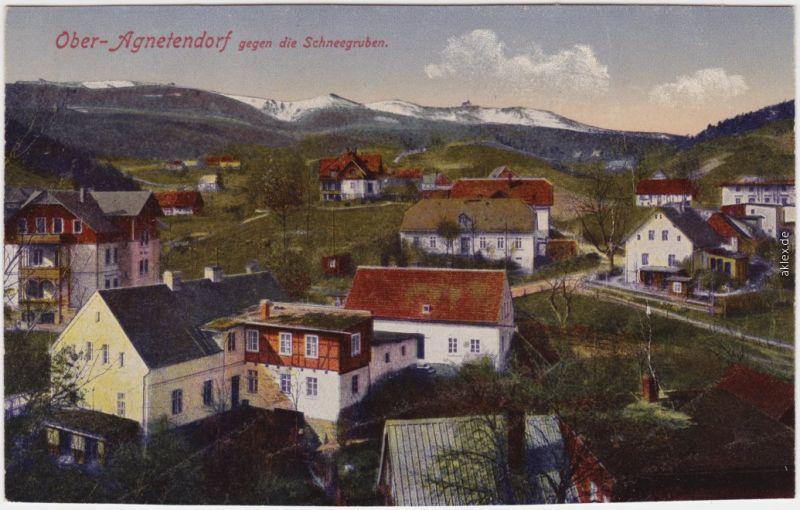 Agnetendorf Hirschberg Riesengebirge Jagniątków Jelenia Góra Stadtpartie  1914