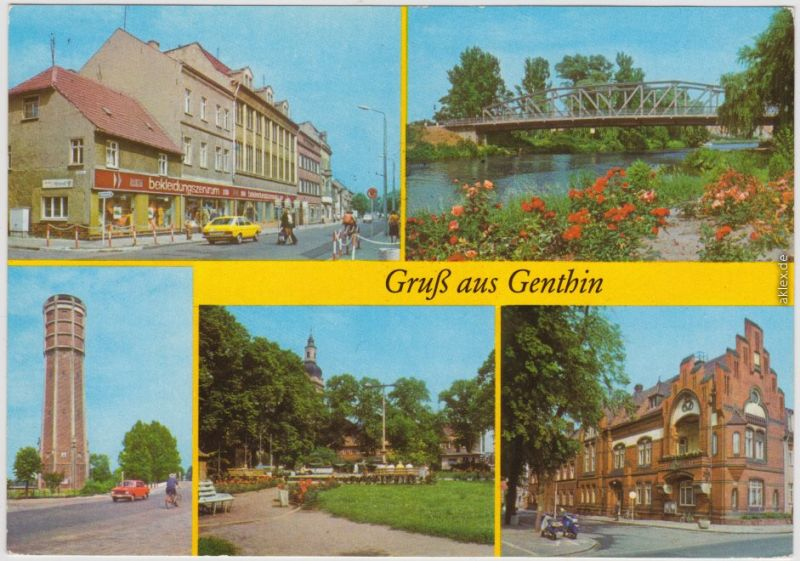 Genthin Ernst-Thälmann-Straße,  Kanal, Wasserturm, Ernst-Thälmann-Platz 1982
