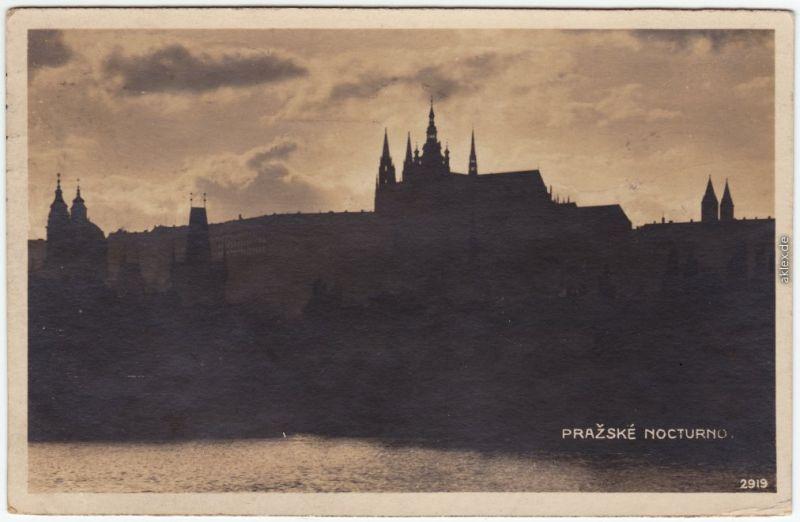 Prag Praha Prag in der Abenddämmerung Foto Ansichtskarte 1930