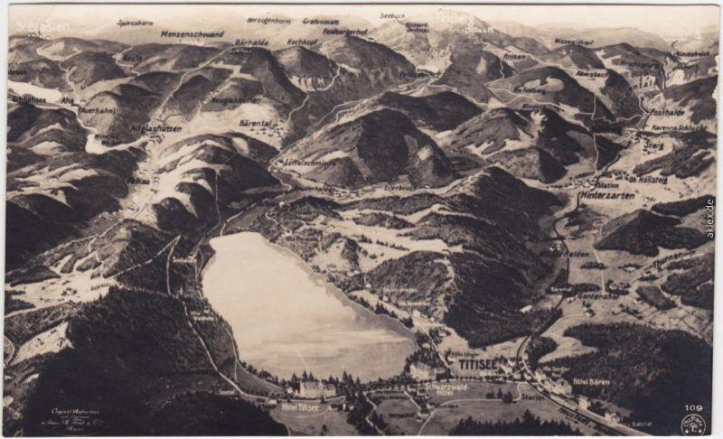 Titisee Neustadt Karte vom Titisee und Umgebung Ansichtskarte  1922