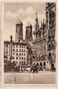 München Marienplatz mit Mariensäule, Rathaus und Dom 1937