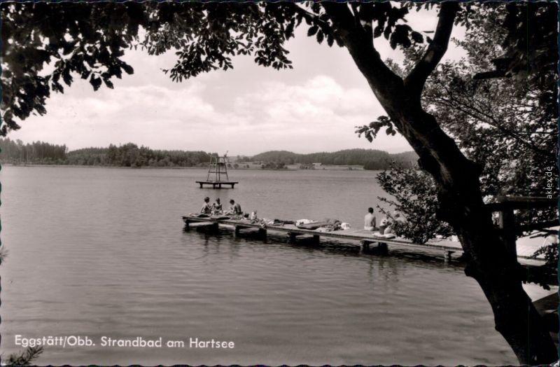 Eggstätt Obb. Blick auf den See mit Bootssteg und Badegästen 1960
