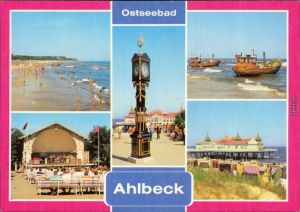 Ahlbeck (Usedom)   Seebrücke zum Strand, Konzertpavillon Stranduhr 1980