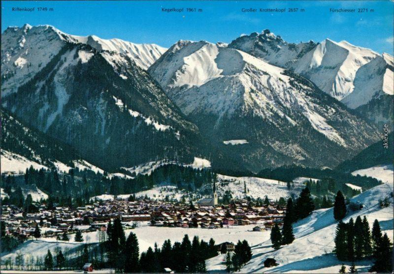 Oberstdorf (Allgäu) Panorama-Ansichten, Landkarten-Ansichtskarten 1999 0