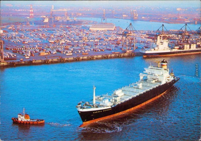 Bremerhaven Hapag-Lloyd Containerschiff und Luftbild vom Hafen 1985