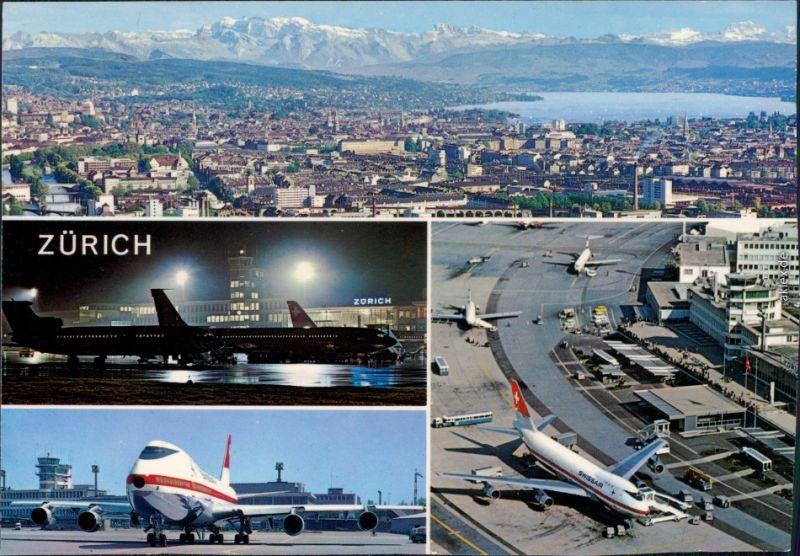 Zürich Flughafen (Zürich) und Panorama-Ansichten 1993