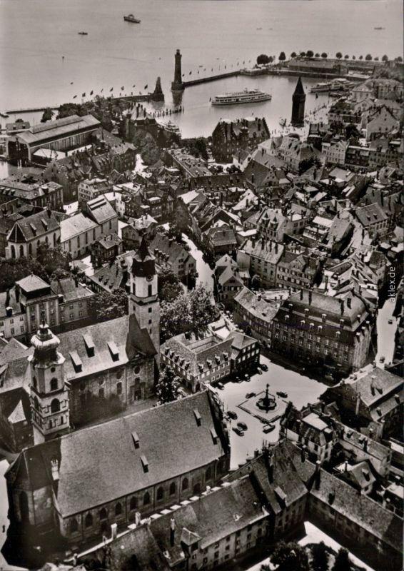 Lindau (Bodensee) Luftbild: Stadt,Hafen mit Fähren 1965