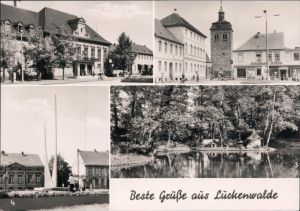 Ansichtskarte Luckenwalde Bahnhof,Blick z Marktturm,Stadtpark,Lenindenkmal 1974