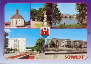 Schwedt Oder  Neubaugebiet (2) mit Brunnen - Fontänen (Wasserspiel) 1992