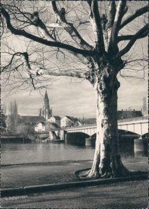 Konstanz Blick aufs Münster, Rheinbrücke im Vordergrund 1964