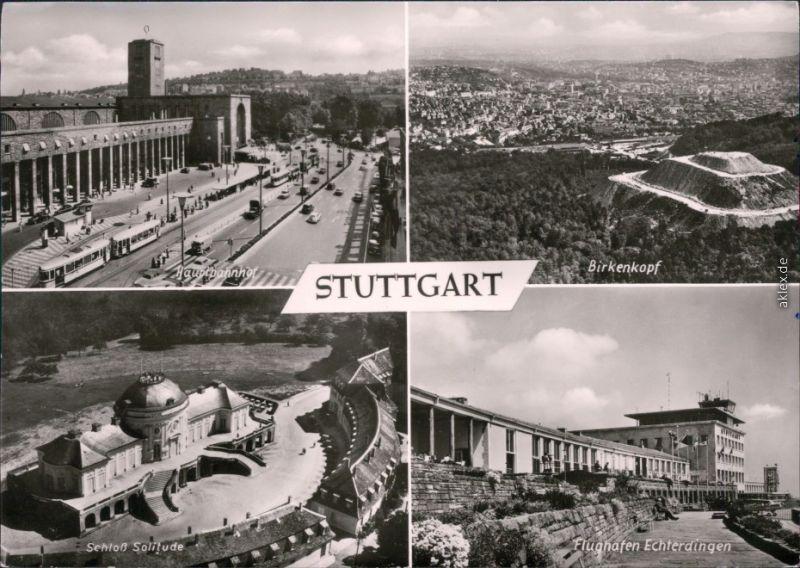 Stuttgart MB Luftbilder: Schloß Solitude, Flughafen Echterdingen, Bahnhof 1971