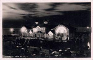 Sellin Seebrücke bei Nacht Foto Ansichtskarte Ostsee   1947