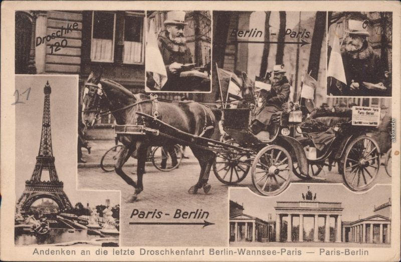 Paris Andenken an die letzte Droschkenfahrt Berlin-Wannsee Paris  1928