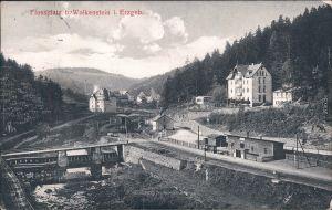 Wolkenstein Flossplatz und Bahnhof Ansichtskarte b Chemnitz Erzgebirge 1915