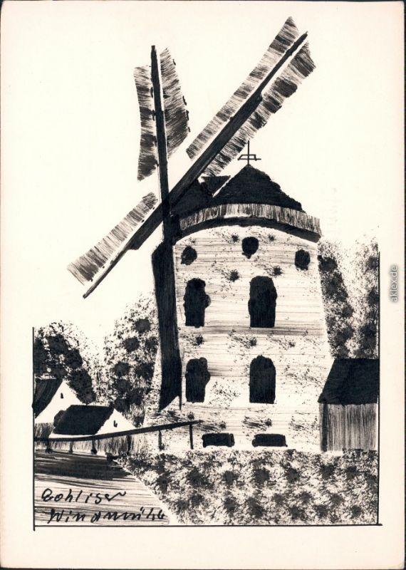 Ansichtskarte Gohlis Dresden Gohliser Windmühle Künstlerkarte 1932