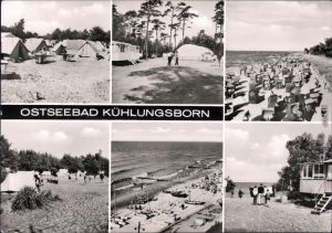 Kühlungsborn Zeltplatz Strand  Strandkörbe, Segelboote am Strand, Strand 1979
