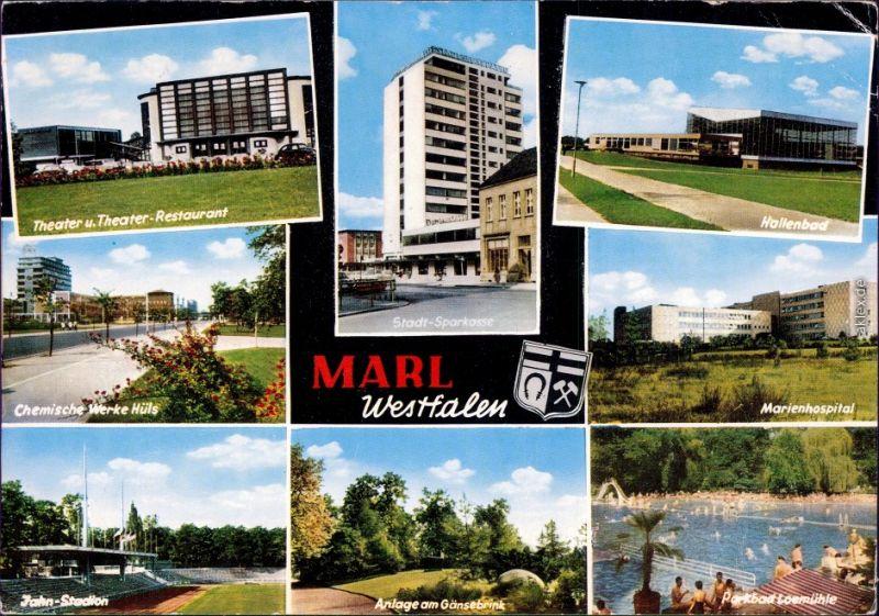 Marl (Westfalen)  Chemische Werke Hüls, Jahn-Stadion, Stadt-Sparkasse,  1972
