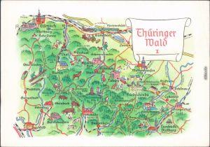 Landkarte Thüringer Wald: Ruhla Eisenach Friedrichroda Brotterode Tabarz 1974