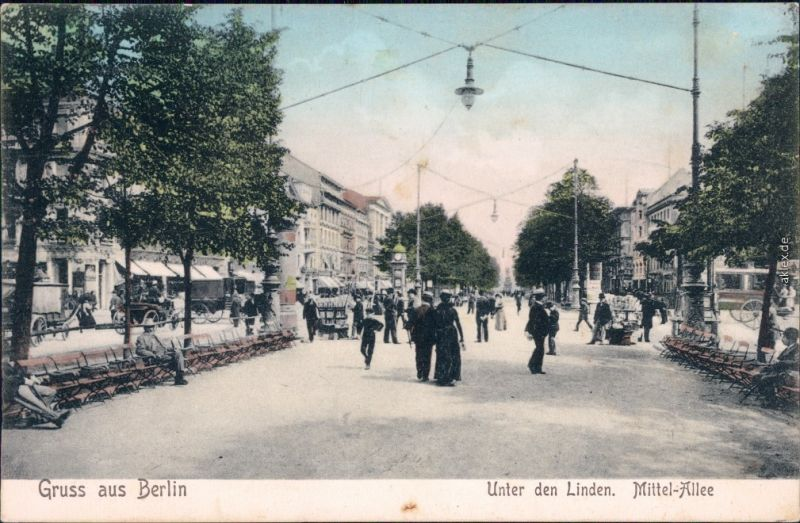 Mitte Berlin Unter den Linden - Mittelallee - belebt Ansichtskarte 1906
