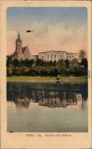 Penig (Mulde) Kirche und Schule Ansichtskarte 1924