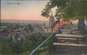 Pirna Restauration - Blick auf die Stadt colorierte Ansichtskarte 1918