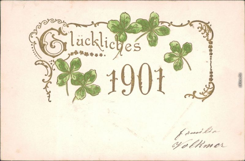 Glückwunsch - Neujahr/Sylvester: Kleeblatt 1901 Goldrand