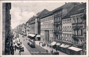Karlsruhe Kaiserstraße, Straßenbahn und Geschäfte Ansichtskarte 1937