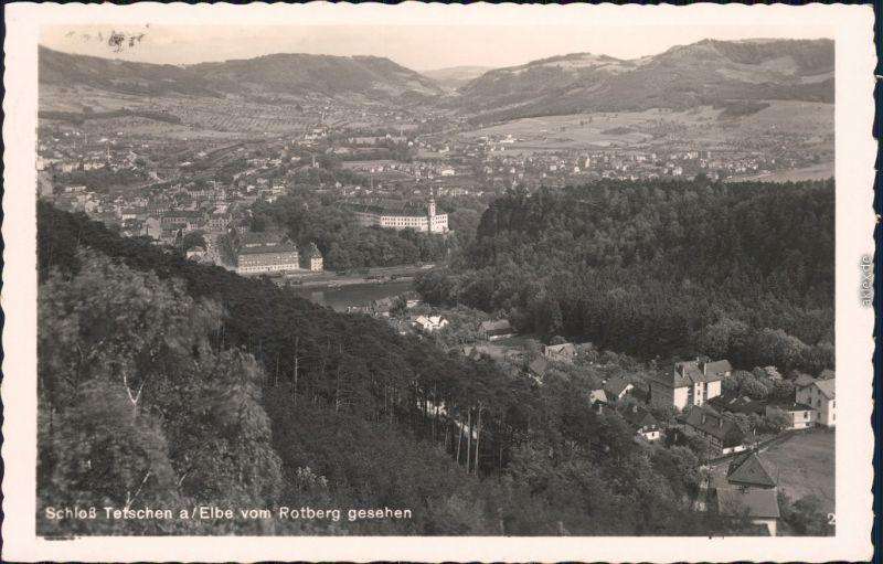 Tetschen-Bodenbach Decín Stadt vom Rottberg gesehen Foto Ansichtskarte 1936