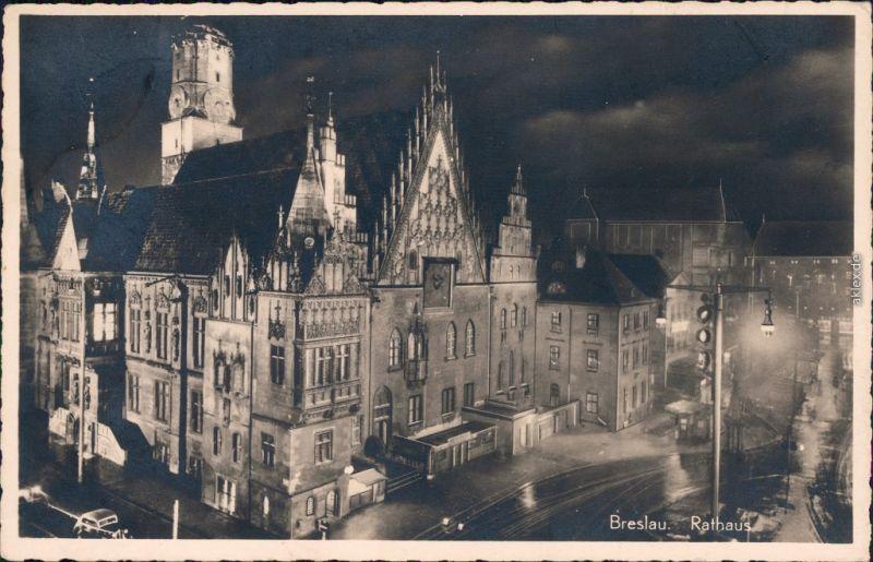Ansichtskarte Breslau Wrocław Partie am Rathaus bei Nacht 1938